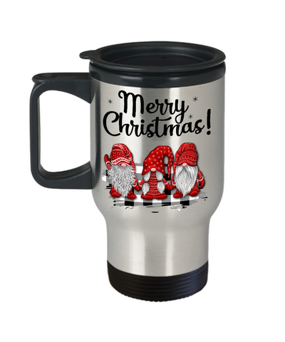 Merry Christmas Gnome Travel Mug Gift Cute Holiday Trio of Gnomes Novelty Surprise Coffee Cup