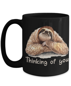 Thinking of You Sloth Black Mug Gift Get Well Support Condolences Novelty Coffee Cup