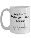 My Heart Belongs to My Yorkie Mug Dog Lover Novelty Birthday  Unique Cup Gifts