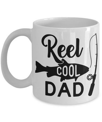 Reel Cool Dad Fishing Mug Gift For Fisher Father Novelty Coffee Cup