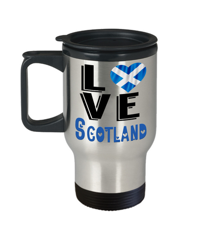 Image of Love Scotland Travel Mug Gift Novelty Scottish Keepsake Coffee Cup