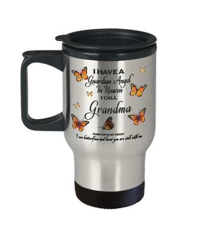 Grandma In Loving Memory Travel Mug With Lid Guardian Angel in Heaven Monarch Butterfly Gift Memorial Coffee Cup