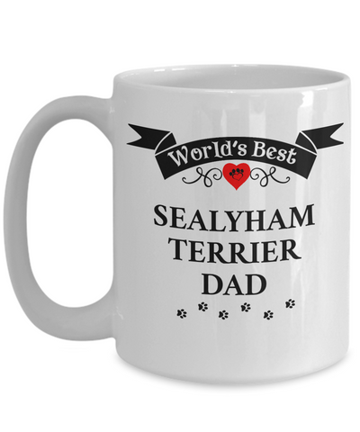 Image of World's Best Sealyham Terrier Dad Cup Unique Dog Ceramic Coffee Mug Gifts for Men