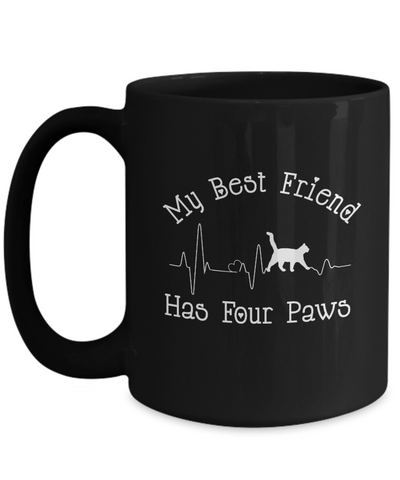 Image of My Best Friend Has Four Paws Cat Heartbeat Mug Mom Dad Novelty Birthday Gift Ceramic Coffee Tea Cup