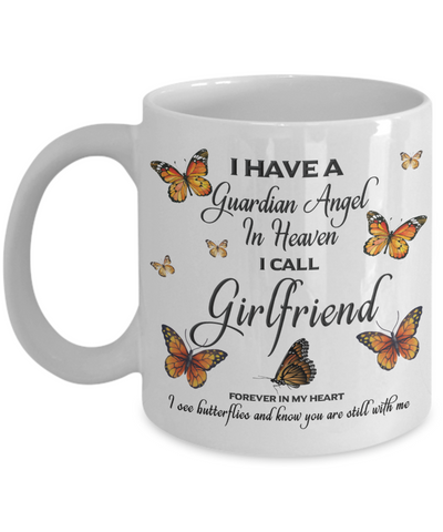Girlfriend In Loving Memory Mug Guardian Angel in Heaven Monarch Butterfly Gift Memorial Ceramic Coffee Cup