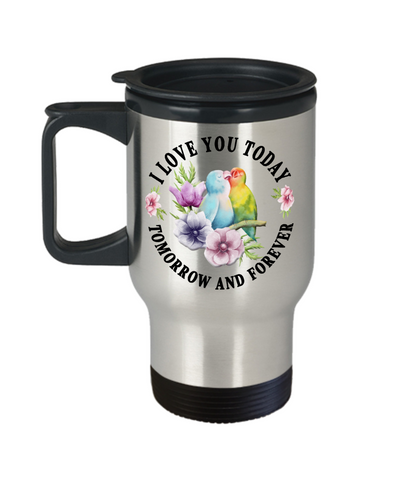 I Love You Lovebird Travel Mug Gift Novelty Birthday Christmas Valentine's Day Coffee Cup