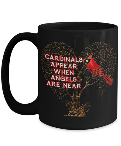 Image of Cardinals Appear When Angels Are Near Black Bird Mug Gift Memorial Keepsake Cup
