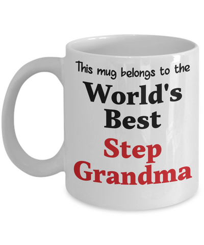 World's Best Step Grandma Mug Family Gift  Novelty Birthday Thank You Appreciation Ceramic Coffee Cup