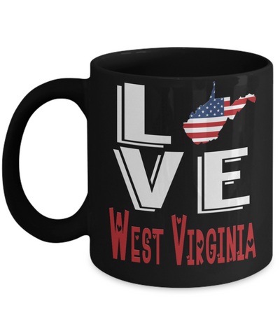 Image of Love West Virginia State Black Mug Gift Novelty American Keepsake Coffee Cup