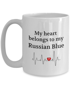 My Heart Belongs to My Russian Blue Mug Cat Lover Novelty Birthday Gifts Unique Work Ceramic Coffee Gifts for Men Women