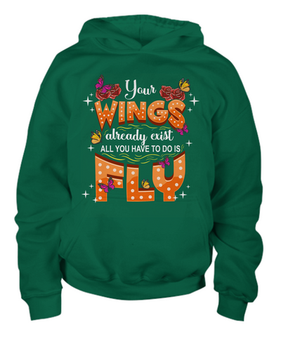 Inspirational Butterfly Hoodie Gift Your Wings Exist Just Fly Novelty Clothing