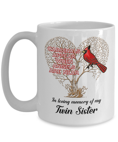 Twin Sister Cardinal Memorial Coffee Mug Angels Appear Keepsake