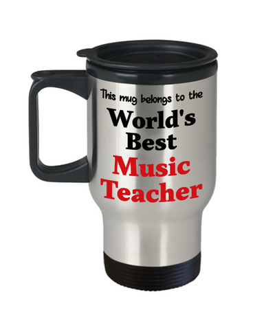 Image of World's Best Music Teacher Occupational Insulated Travel Mug With Lid Gift Novelty Birthday Thank You Appreciation Coffee Cup