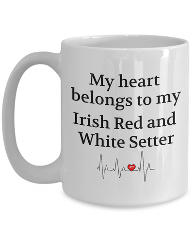 Image of My Heart Belongs to My Irish Red And White Setter Mug Novelty Birthday Gifts Unique Gifts