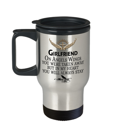 Image of Girlfriend Angel Wings In Loving Memory Travel Mug Gift Memorial Coffee Cup