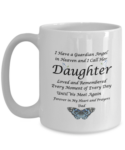 "Image of Gift for Bereaved Dad Guardian Angel in Heaven.. Daughter...Dad "" Remembrance Gift"