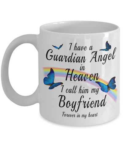 Boyfriend In Loving Memory Gift ButterflyMug I Have a Guardian Angel in Heaven In Remembrance Memorial Ceramic Coffee Cup