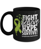 Fight Believe Hope Survive Lymphoma Black Mug Gift Cancer Awareness Support Cup