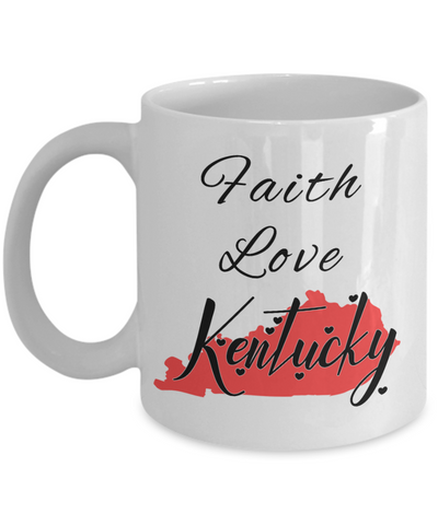 Image of Patriotic USA Gift Mug Faith Love Kentucky Unique Novelty Birthday Christmas Ceramic Coffee Tea Cup