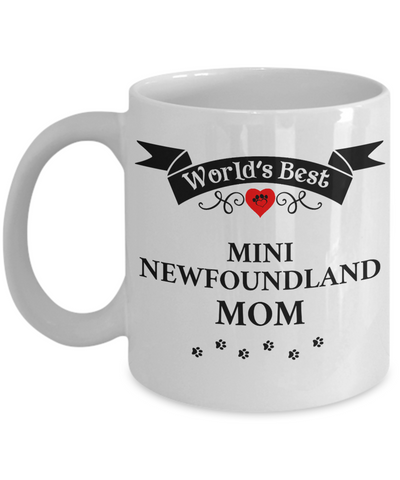 Image of World's Best Mini Newfoundland Mom Cup Unique Ceramic Dog Coffee Mug Gifts