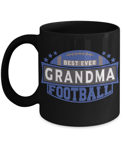 Best Ever Football Grandma Black Mug Gift Fun Novelty Birthday Sport Lover Teacher Supporter Ceramic Coffee Cup
