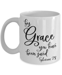 Faith Ephesians 2:8 Bible Verse Prayer Mug By Grace You Have Been Saved Christian Novelty Birthday Gifts Best Scripture Verse Quote Gifts Ceramic Coffee Tea Cup