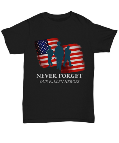 United States Fallen Veteran Heroes Black Shirt Gift Never Forget Grateful Appreciation T-Shirt