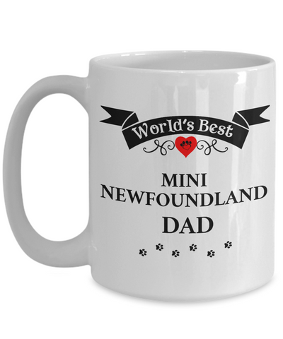 Image of World's Best Mini Newfoundland Dad Cup Unique Dog Ceramic Coffee Mug Gifts for Men