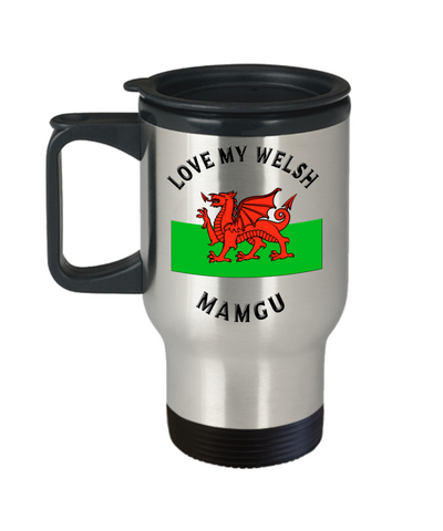 Love My Welsh Mamgu Travel Mug With Lid Novelty Birthday Gift Coffee Cup