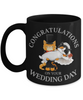 Congratulations Wedding Day Cat Black Mug Gift Marriage Mr & Mrs Fur Lovers Novelty Cup