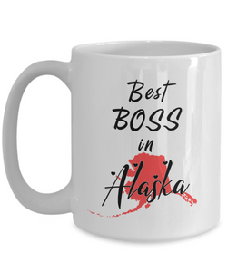 Best Boss in Alaska State Mug Novelty Birthday Christmas Gifts Ceramic Coffee Cup for Employer Day