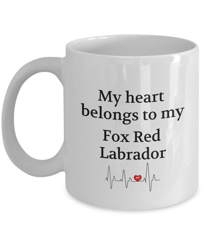 Image of My Heart Belongs to My Fox Red Labrador Mug Dog Lover Novelty Birthday Gifts Unique Work Ceramic Coffee Cup Gifts for Men Women