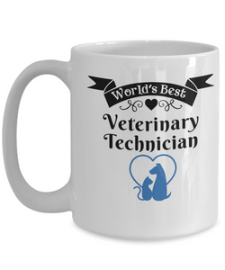 World's Best Veterinary Technician Mug for Vet Tech Unique Novelty Birthday Christmas Gifts Ceramic Coffee Cup for Men Women