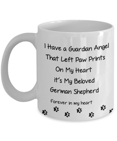 "Image of Pet Remembrance, ""I Have a Guardian Angel in Heaven, German Shepherd memorial gift"