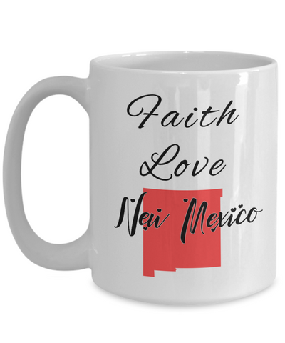 Image of Patriotic USA Gift Mug Faith Love New Mexico Unique Novelty Birthday Christmas Ceramic Coffee Tea Cup