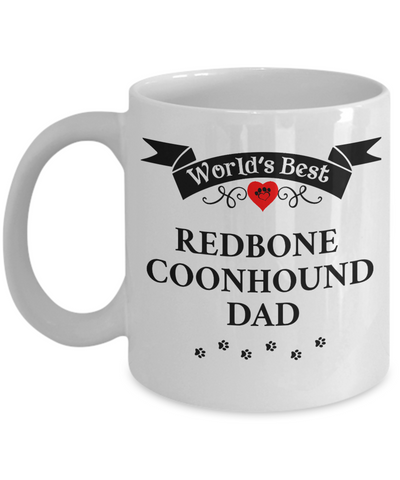 Image of World's Best Redbone Coonhound Dad Cup Unique Dog Ceramic Coffee Mug Gifts for Men