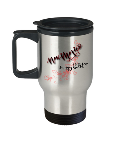 Image of State of New Mexico in My Heart Travel Mug With Lid Unique Novelty Birthday Christmas Gifts Coffee Tea Cup