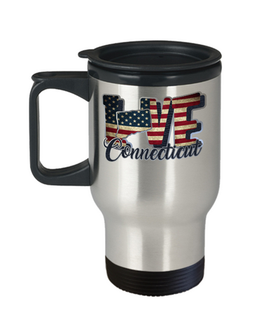Love Connecticut Travel Mug Gift Patriotic USA State Novelty Coffee Cup