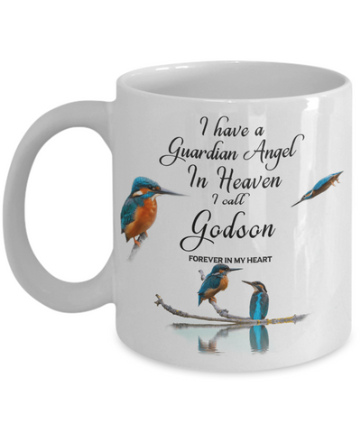 Godson In Remembrance Gift Mug Guardian Angel Memorial Kingfisher Coffee Cup