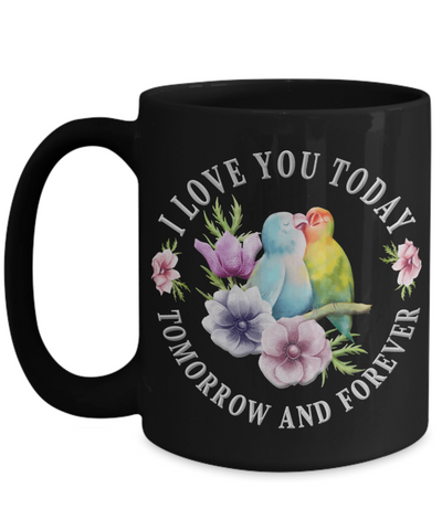 I Love You Lovebird Black Mug Gift Novelty Birthday Christmas Valentine's Day Coffee Cup
