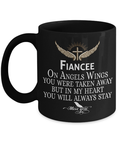 Fiancee Angel Wings In Loving Memory Black Mug Gift Memorial Coffee Cup