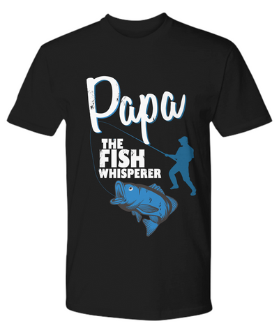Image of Papa The Fish Whisperer Shirt Gift for Dad Grandpa Fishing Addict Tee