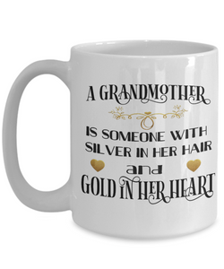 Grandmother Mug Gift Gold in Her Heart Novelty Grandma Coffee Cup