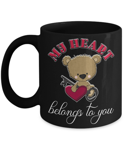 Image of My Heart Belongs to You Teddy Bear Black Mug Gift Love You Surprise Valentine's Day Cup