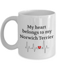 My Heart Belongs to My Norwich Terrier Mug Animal Lover Novelty Birthday Gifts Unique Work Ceramic Coffee Gifts for Men Women