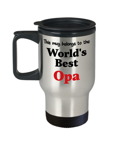 World's Best Opa Family Insulated Travel Mug With Lid Gift Novelty Birthday Thank You Appreciation Coffee Cup