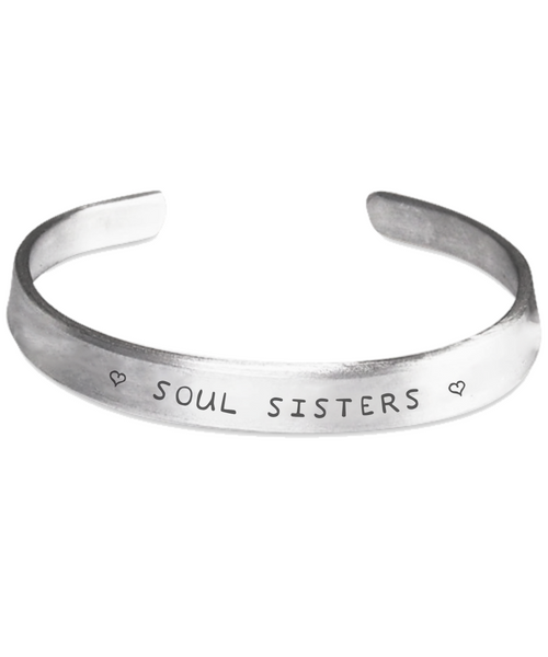 Soul Sisters Hand Stamped Love You Bracelet Gift Inspirational Bangle