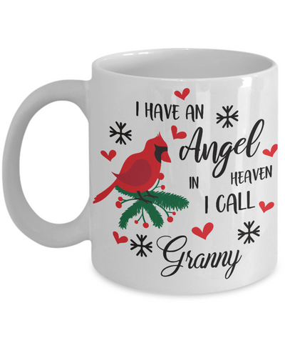 Granny Angel in Heaven Cardinal Mug Gift In Loving Memory Coffee Cup