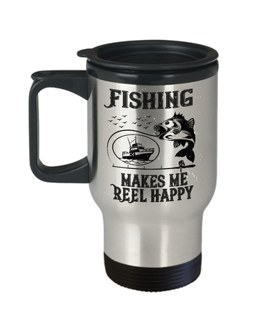 Fishing Makes Me Reel Happy Fisher Travel Mug Gift Funny Novelty Coffee Cup