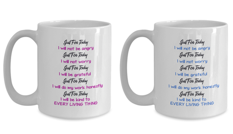 Image of Reiki Prayer Coffee Mug Gift 5 Principles of Reiki Gift Coffee Mug Positive Mantra Gift Cup Novelty Coffee Mug Gift set